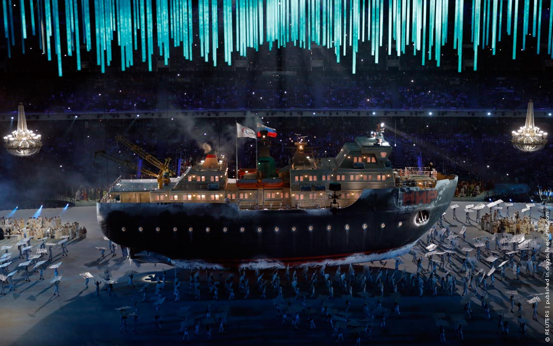 An icebreaker ship called 'Peace' carries the Paralympic and Russian flags during the opening ceremony of the 2014 Paralympic Winter Games in Sochi