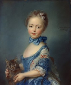 Attributed to Jean-Baptiste Perronneau ~ A Girl with a Kitten, 1745 [The National Gallery]