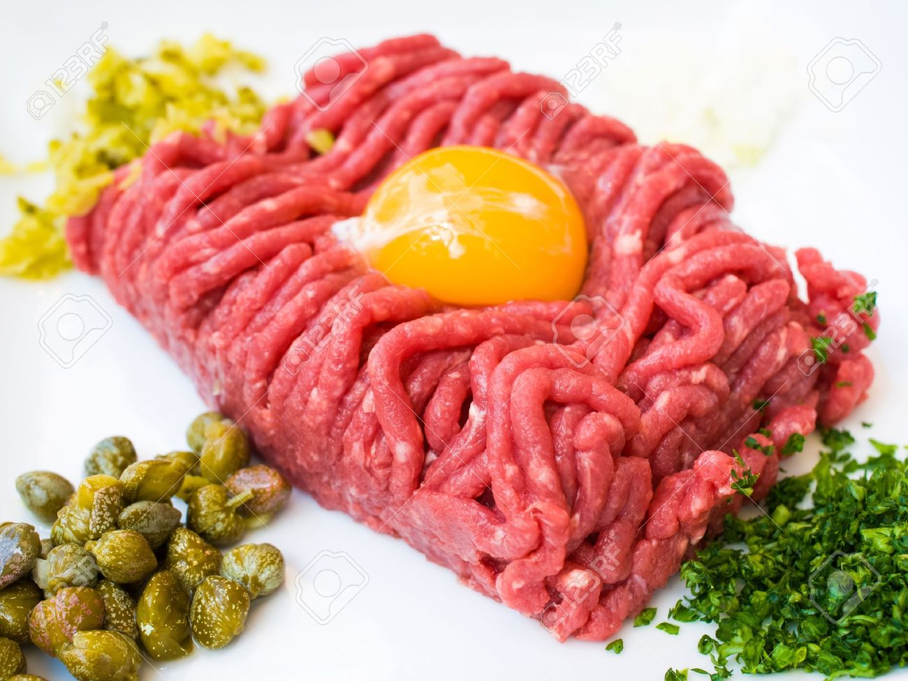 13129001-tasty-tartare-Raw-beef-classic-steak-tartare-on-white-plate-Stock-Photo