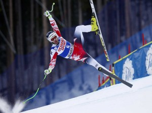 Vincent Kriechmayr, of Austria, loses control during his run at the men's World Cup super-G ski race Saturday, Dec. 6, 2014, in Beaver Creek, Colo. (AP Photo/Alessandro Trovati)