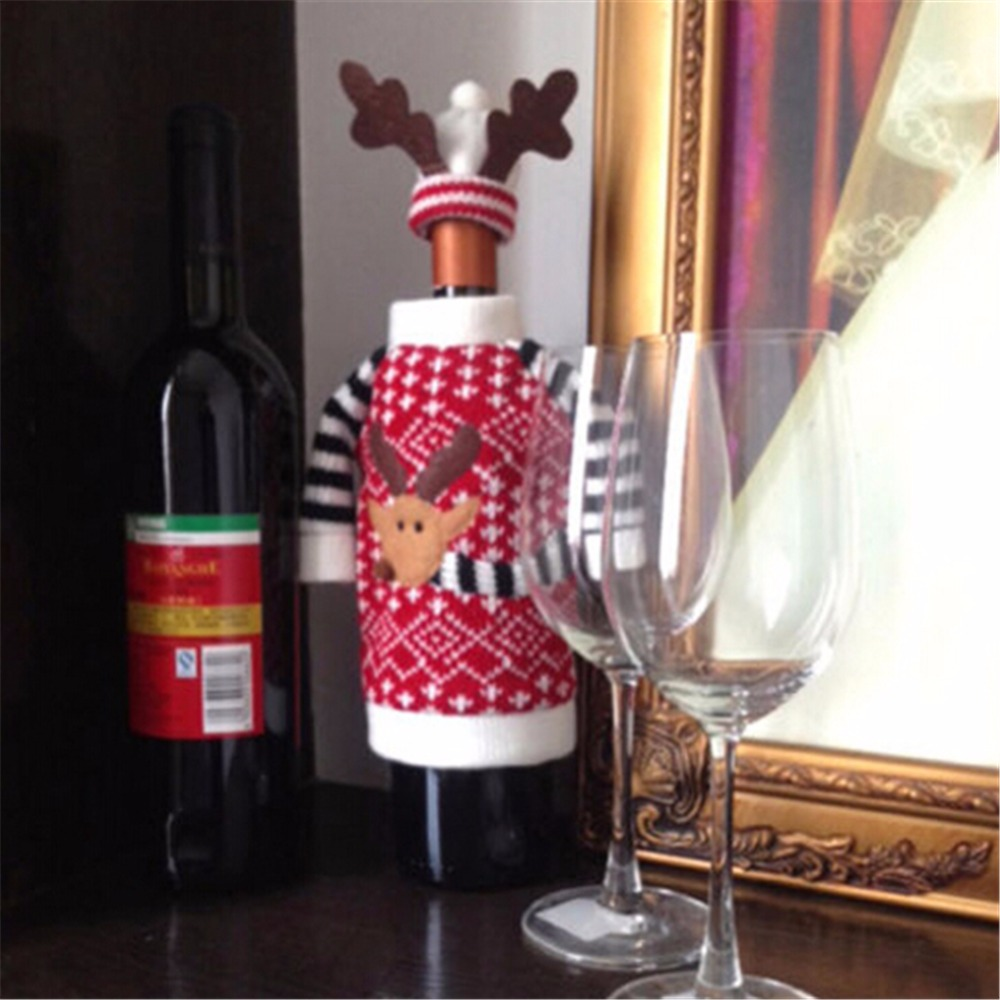 New-Cute-Lovely-Xmas-Santa-Deer-Wine-Bottle-Cover-font-b-Table-b-font-font-b