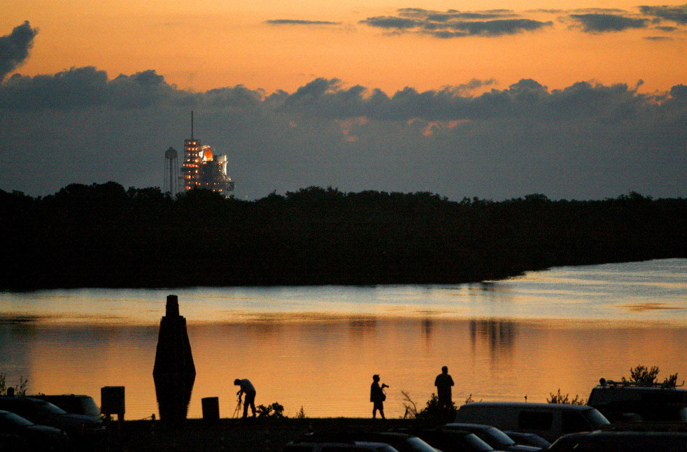 Space shuttle Endeavour sits on launch pad 39A just before sunrise at the Kennedy Space Center, Monday, May 16, 2011. Endeavour is scheduled to launch at 8:56 a.m. (Tom Burton/Orlando Sentinel/MCT)